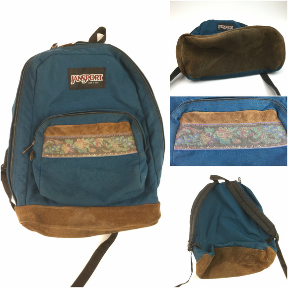 2fec14025 Jansport Handbags - Vintage JanSport Floral leather bottom backpack